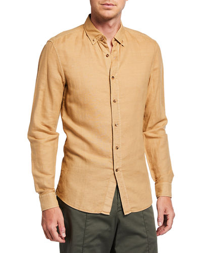 Men's Leisure Fit Linen/Cotton Sport Shirt