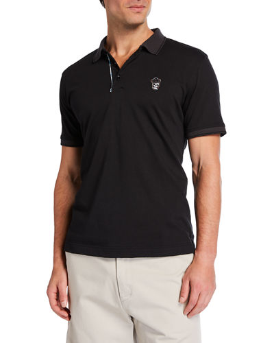 Men's Lucifer Contrast Skull Patch Polo Shirt