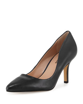 CISSY POINTED-TOE LEATHER PUMPS, BLACK