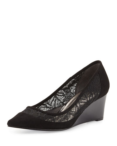 Langley Suede Lace Wedge Pump