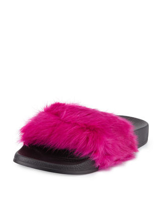 CRUISE RABBIT-FUR SLIDE SANDAL