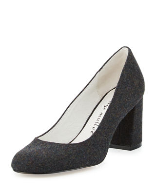 Bettye Muller Suede Round-Toe Pumps