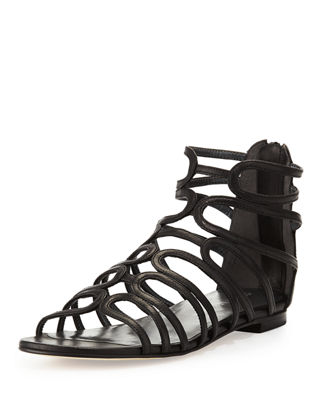 Stuart Weitzman Leather Caged Sandals