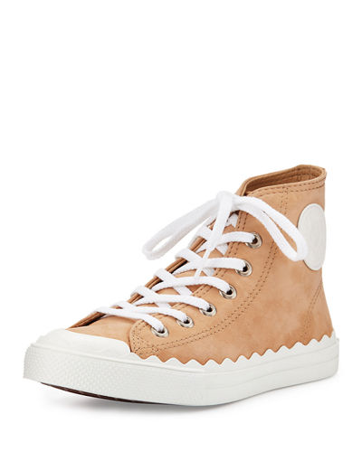 Scalloped Suede High-Top Sneaker