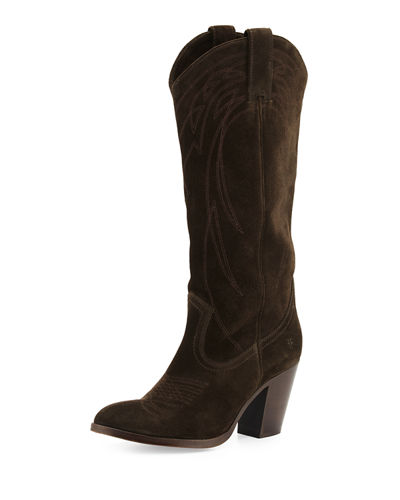 Ilana Embroidered Suede Western Boot
