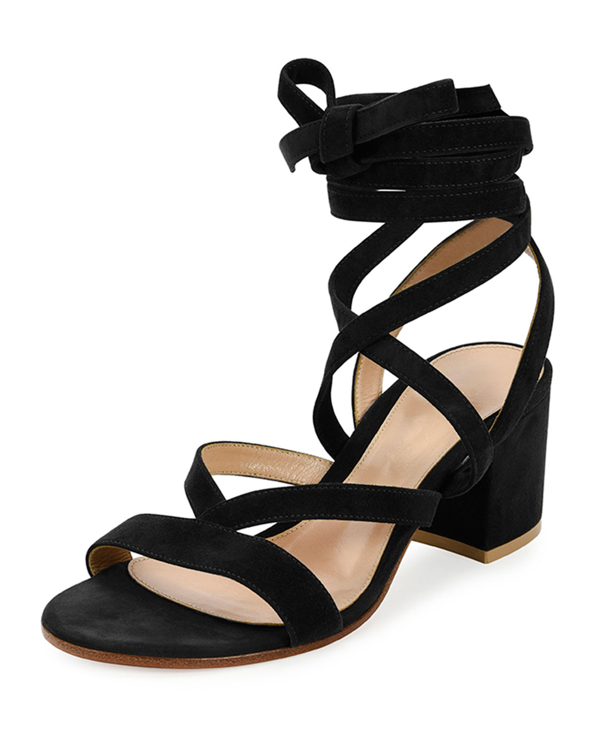 Gianvito Rossi Suedes STRAPPY SUEDE ANKLE-WRAP SANDAL