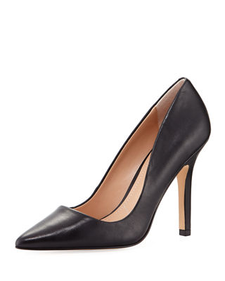 Sweetness Leather Pointed-Toe Pump in Black