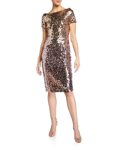 Ombre Sequin Sheath Dress