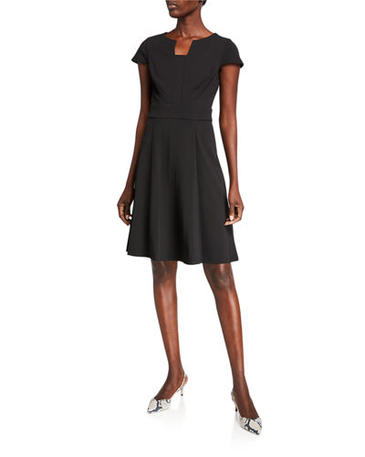 Notch-Neck Fit & Flare Dress