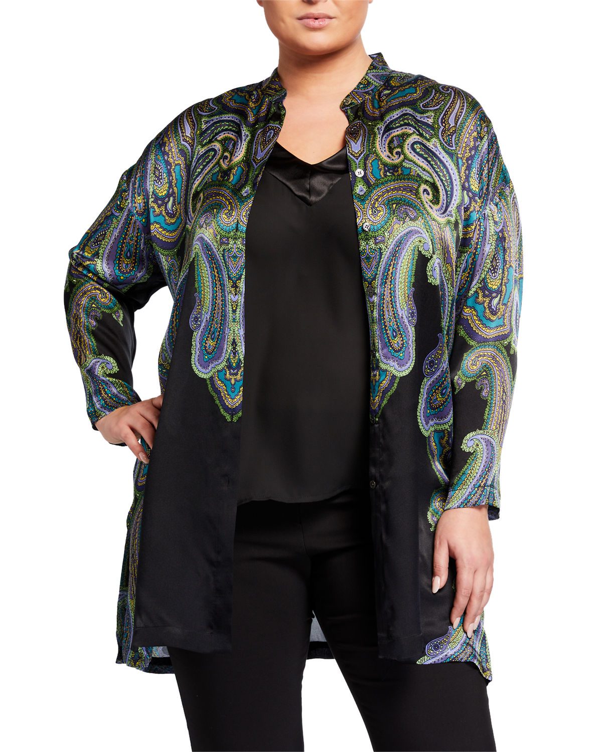 Go Silk PLUS SIZE ALLOVER PRINT SILK JACKET