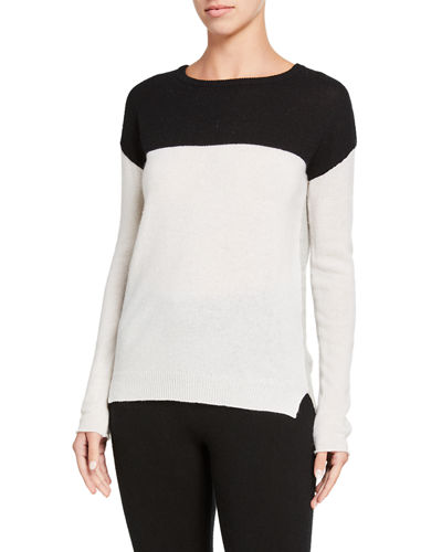 Colorblock Drop Shoulder Cashmere Sweater