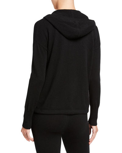 Drawstring-Hem Cashmere Hooded Jacket