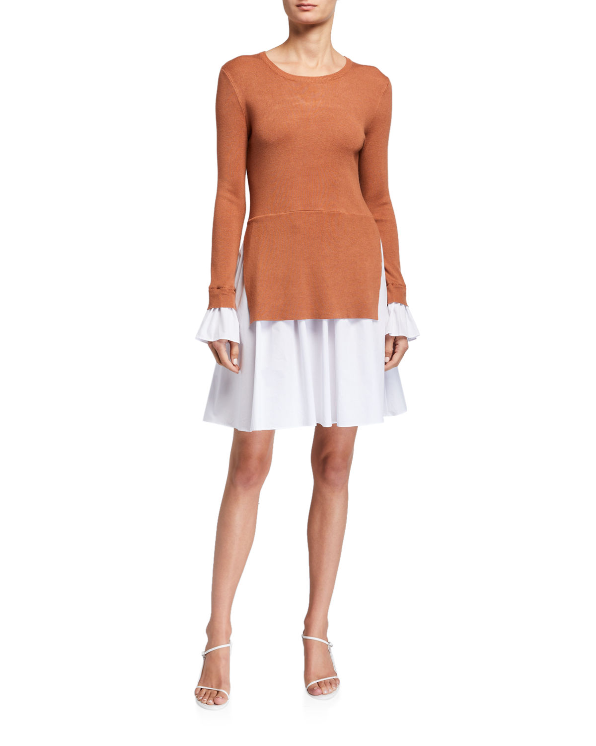 English Factory Long-sleeve A-line Dress With Shirting Combo In Brown
