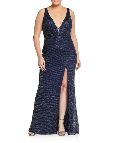 Plus Size Deep V-Neck Beaded Lattice Gown with Thigh-Slit