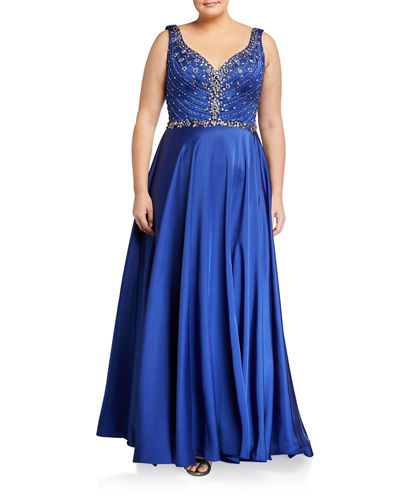 Plus Size Embellished Bodice V-Neck Sleeveless Satin Gown