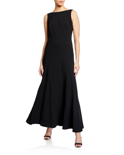 Crepe Drape Back Gown with Contrast Lining