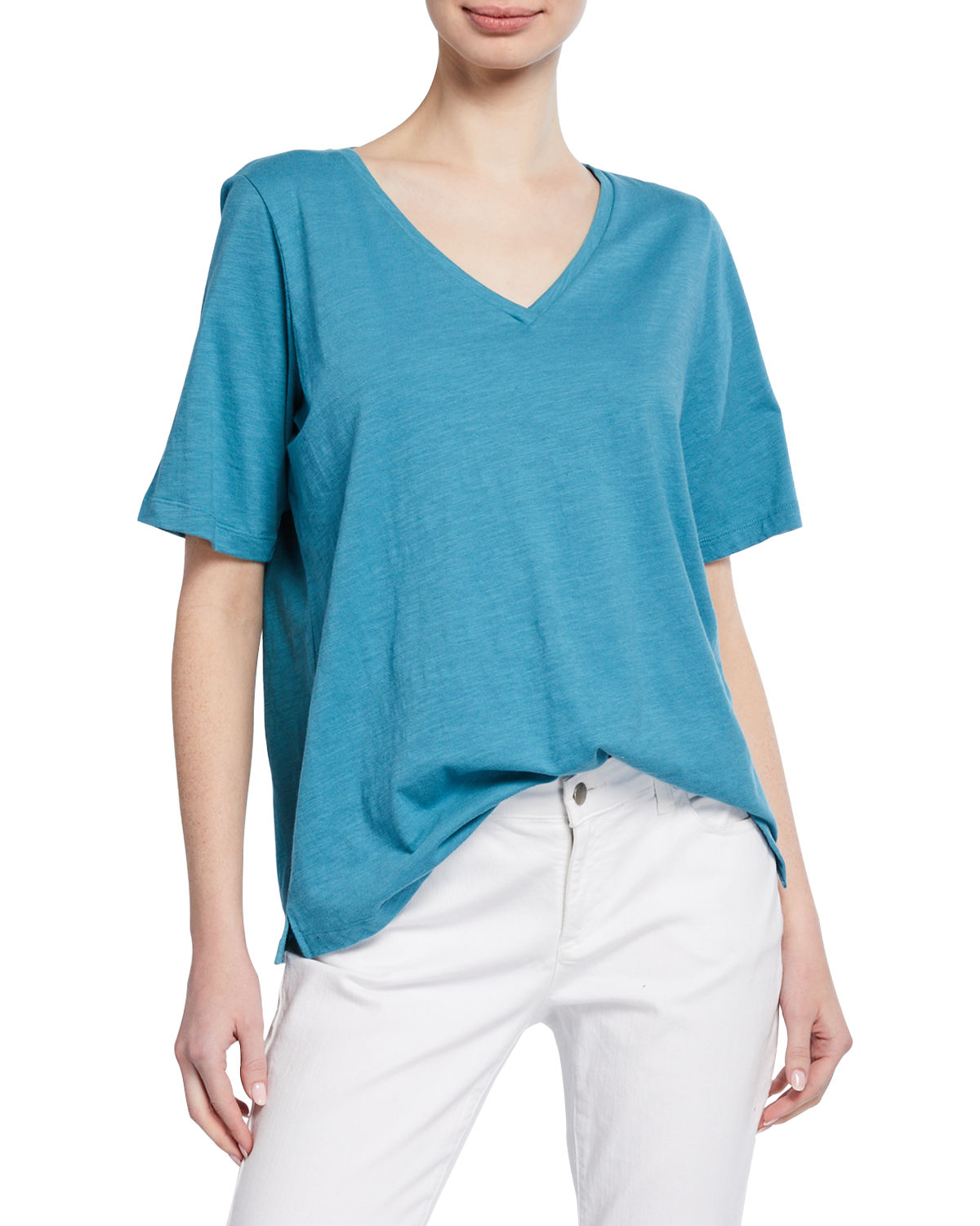 Eileen Fisher Shorts SHORT-SLEEVE V-NECK ORGANIC COTTON SLUB JERSEY TEE