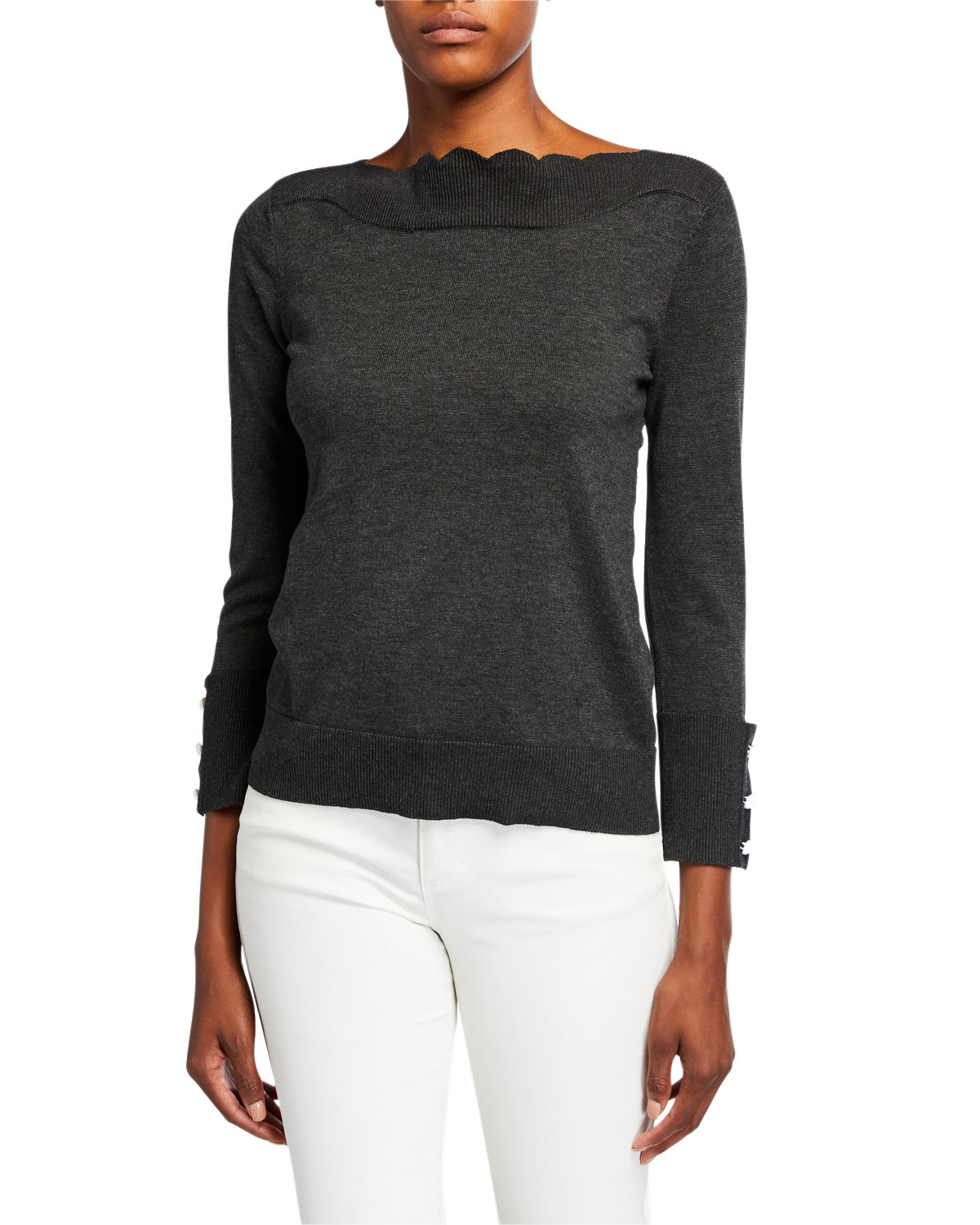 Neiman Marcus Tops SCALLOP-NECK BRACELET-SLEEVE TOP