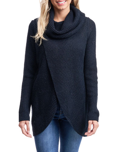 Cowl-Neck Long-Sleeve High-Low Sweater