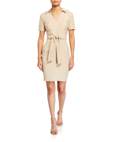 Pick-Stitched Collared Sheath Dress