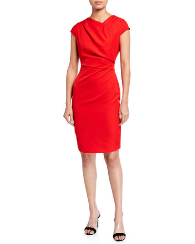 Asymmetric Cap Sleeve Sheath Dress