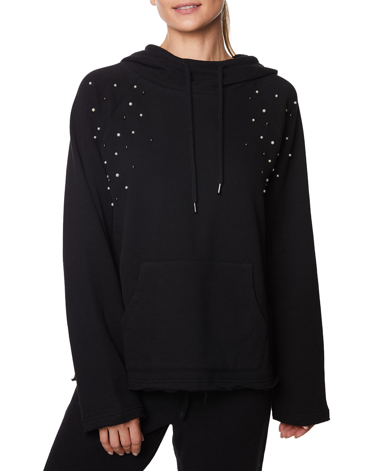 Betsey Johnson T-shirts PEARL STUDDED HOODIE SWEATSHIRT