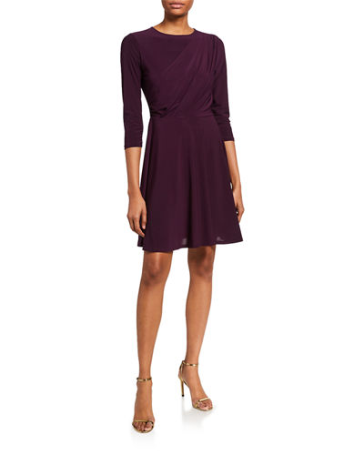 Draped 3/4-Sleeve Fit-&-Flare Dress