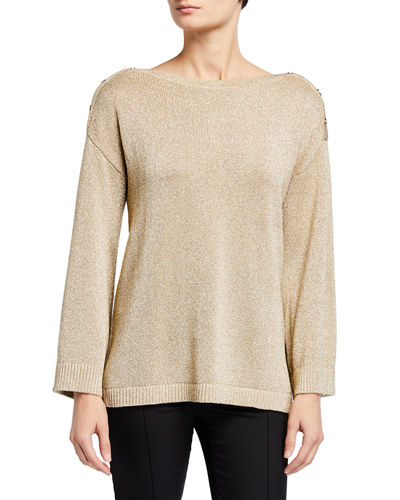 Long Sleeve Shoulder Button Sweater