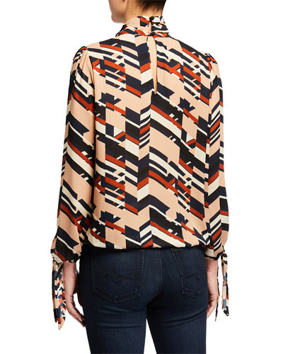 Printed High Neck Keyhole Blouse