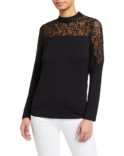 Lace Trim Mock Neck Top