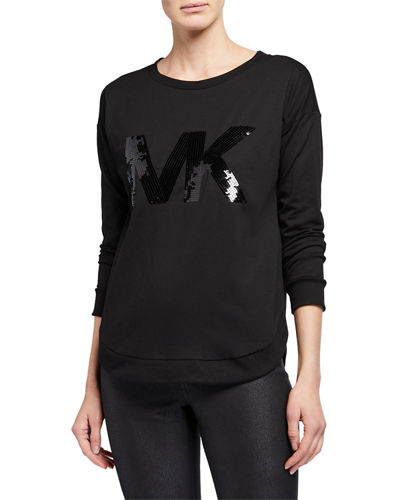 Logo Sequin Long-Sleeve Sweatshirt