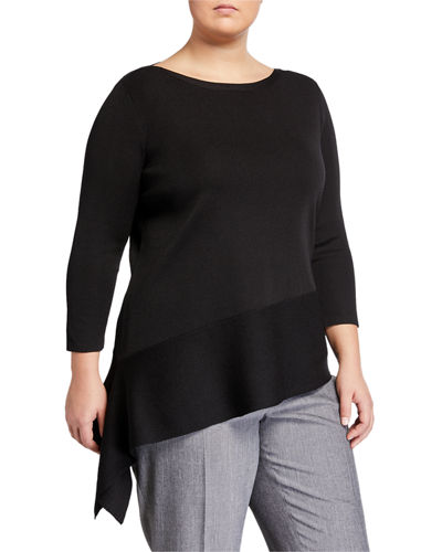 Plus Size Asymmetric Long-Sleeve Sweater