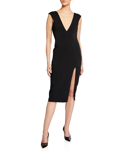 Lloyd Deep V Cap-Sleeve Midi Cocktail Dress