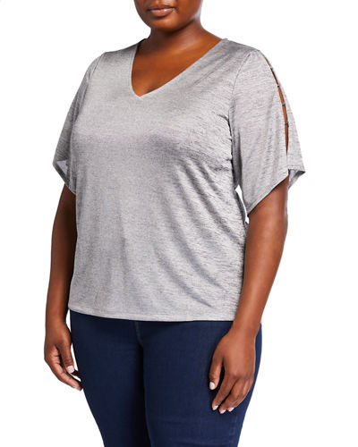 Plus Size Ladder Bead Short-Sleeve Top