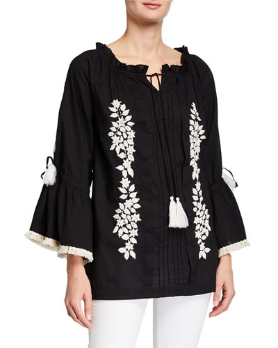 Embroidered Frayed Top