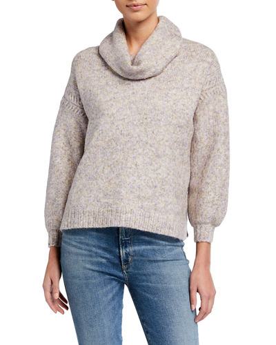 Cowl-Neck Cable Boxy Sweater