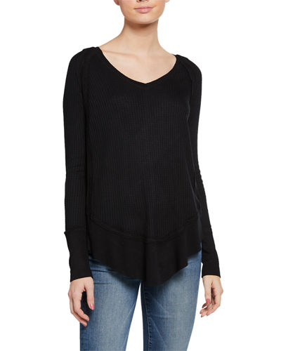 Scoop-Neck Long-Sleeve High-Low Waffle Top