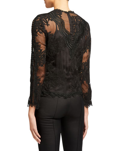 Lace Embroidered Long-Sleeve Top
