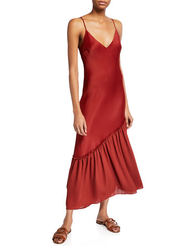 Sleeveless Satin Long Lounge Dress