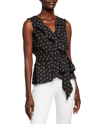 Sleeveless Printed Ruffled Wrap Blouse