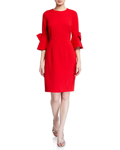 3/4 Bow-Sleeve Stretch Crepe Dress
