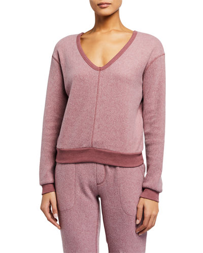 Teddy Slouch V-Neck Pullover