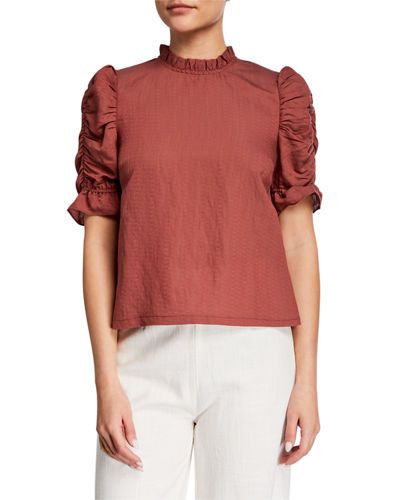 Puff Sleeve Ruffle Trim Top