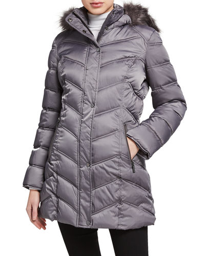 Faux-Fur-Trim Chevron Quilted Coat