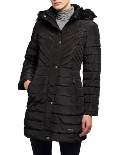 Faux-Fur-Trim Memory Satin Puffer Coat
