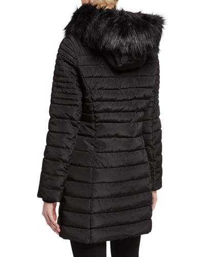 Faux-Fur-Trim Puffer Coat w/ Removable Hood