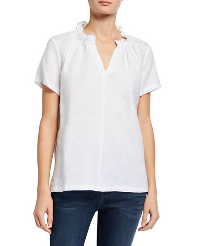 Ruffle-Collar Short-Sleeve Linen Blouse