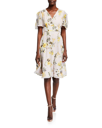 Printed Flutter-Sleeve Fit-&-Flare Dress