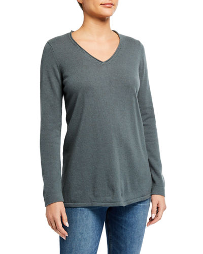 Cashmere V-neck Tunic Sweater