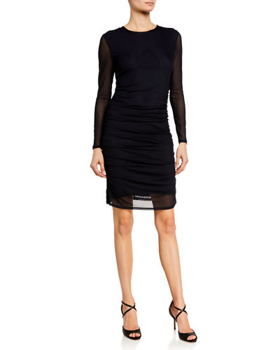 Long Sleeve Power Mesh Shirred Dress
